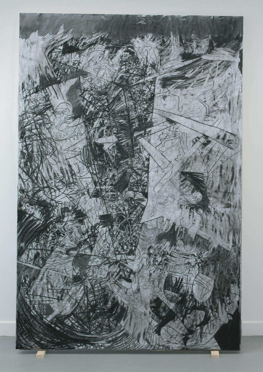 black and white painting of abstract shapes including bones and teeth